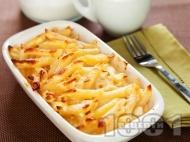 Рецепта Вкусни карамелизирани сладки макарони на фурна със сирене и масло